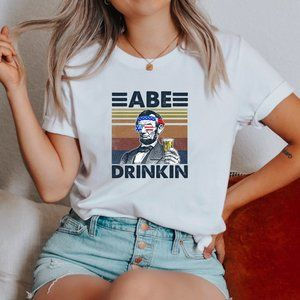 Patriotic 4th Abe Lincoln Drinkin Graphic T-Shirt